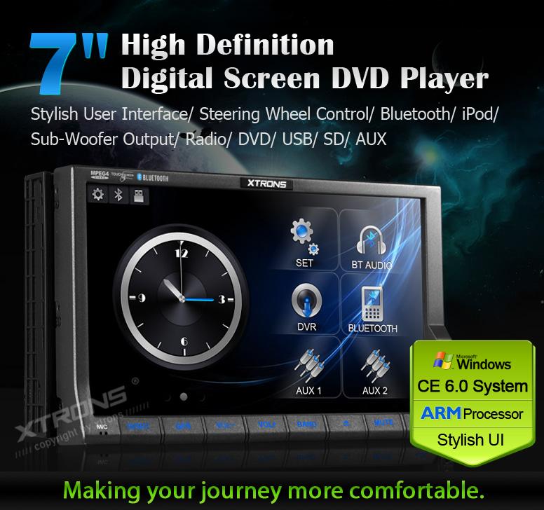 Autoradio monitor 3D HD 800x480 Processore ARM 2 din DVD GPS Comandi al volante Digitale terrestre DVB-T MPEG-4 XTRONS TD714SGD
