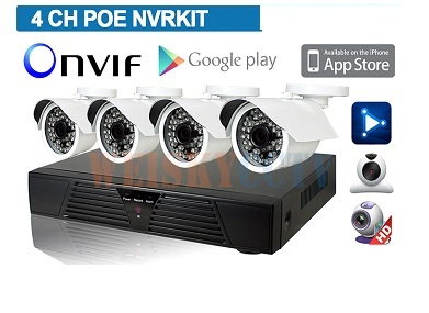 Kit videosorveglianza NVR HD 4CH Megapixel 960p Onvif + 4 Telecamere  IP 720p POE + cavi ed alimentatori