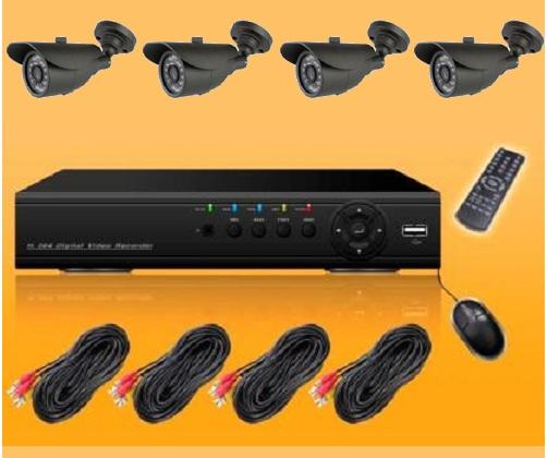 "Kit Videosorveglianza completo, DVR H264 4CH, cavi DC+BNC 18m, Telecamere 1/3"" CMOS 600TVL IR ctrl iphone ipad Android"
