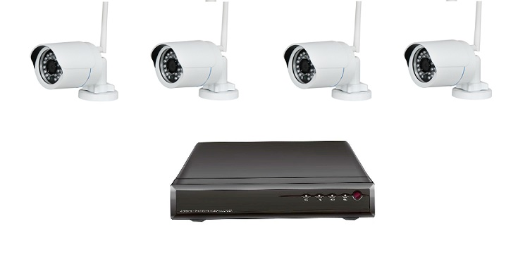 Kit videosorveglianza wireless  NVR 4ch*720p e 4 telecamere IP wireless 720p per esterno con IR
