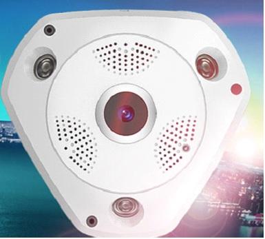 Telecamera fisheye IP IR PTZ WIFI Audio visione panoramica 360° ONVIF P2P risoluzione 960p