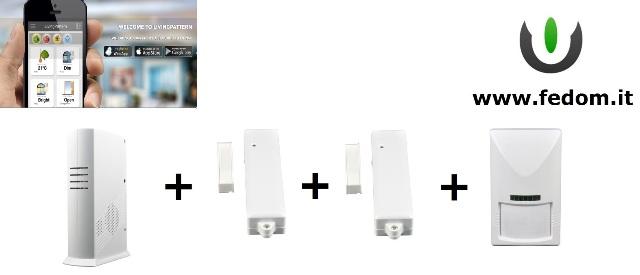 KIT ALLARME WIRELESS FEDOM CASA GSM USB ETHERNET  UFFICIO 868MHZ SUPERVISIONATO CONTROLLO VIA SMARTPHONE PIR BB02