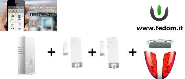 KIT ALLARME WIRELESS FEDOM GSM USB INTEGRATI PER CASA UFFICIO 868MHZ SUPERVISIONATO CONTROLLO VIA SMARTPHONE SIRENA ESTERNA BB03