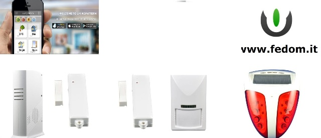 KIT ALLARME WIRELESS FEDOM CASA SICURA GSM PER CASA UFFICIO 868MHZ SUPERVISIONATO CONTROLLO APP PIR SIRENA ESTERNA BB04