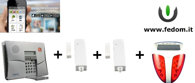 KIT ALLARME WIRELESS FEDOM GSM USB INTEGRATI PER CASA UFFICIO 868MHZ SUPERVISIONATO CONTROLLO VIA SMARTPHONE SIRENA ESTERNA CC03