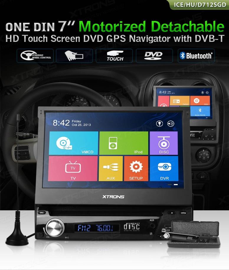 "Autoradio Monitor HD 800x480 1 din 7"" DVD GPS RDS Comandi al volante Digitale terrestre  DVB-T  XTRONS D712VGD"