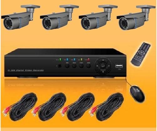 "Kit Videosorveglianza completo, DVR H264 4CH, cavi DC+BNC 20m, Telecamere 1/3"" CMOS 600TVL IR ctrl iphone ipad Android"