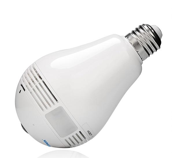 Telecamera formato lampada fisheye 360°   PTZ virtuale digitalizzato Audio WIFI ONVIF TF card luce LED 3W