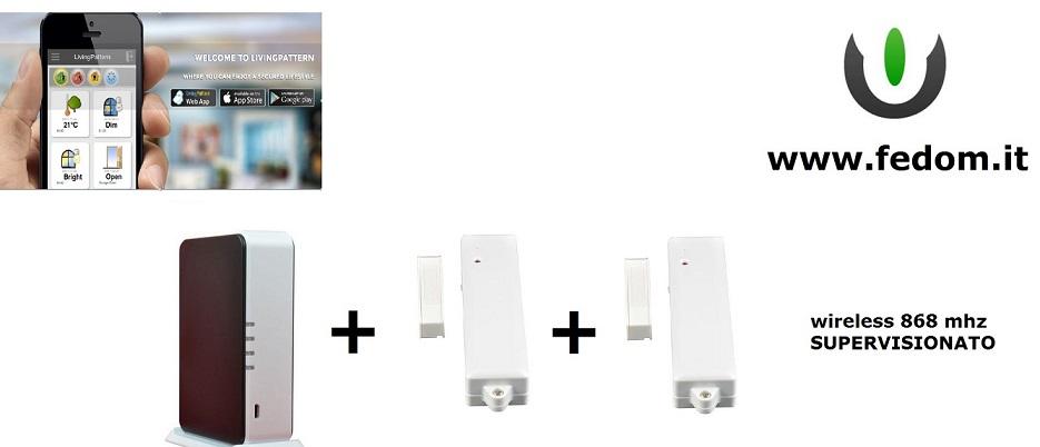 KIT ALLARME WIRELESS CASA UFFICIO 868MHZ SUPERVISIONATO CONTROLLO VIA SMARTPHONE AA01