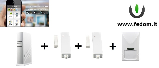 KIT ALLARME WIRELESS FEDOM CASA GSM USB ETHERNET  UFFICIO 868MHZ SUPERVISIONATO CONTROLLO VIA SMARTPHONE PIR BB02