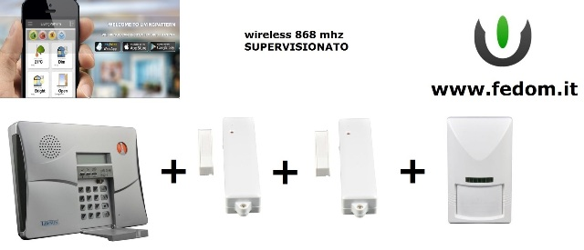KIT ALLARME WIRELESS FEDOM DEFENDER HOME AUTOMATION PER  CASA   UFFICIO 868MHZ SUPERVISIONATO CONTROLLO VIA SMARTPHONE PIR CC02