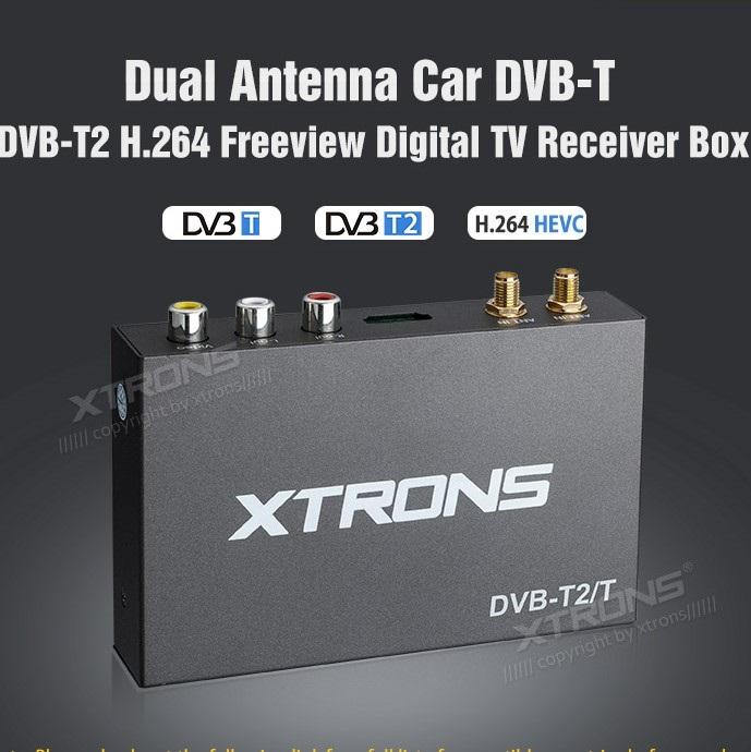 Ricevitore digitale terrestre HD per auto Xtrons FV011 257Km/h 2 antenne DVB-T DVB-T2 + USB recorder